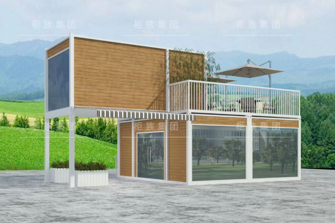 Two floor flat pack container house with terrace and decoration